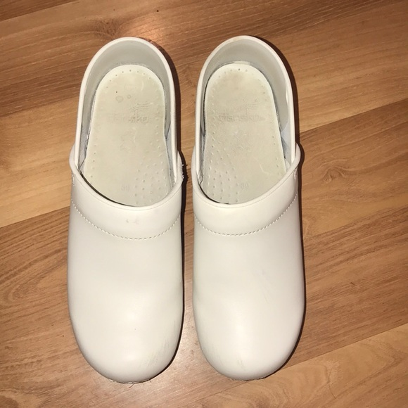 White Patent Leather Clogs Size